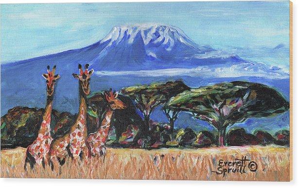 Everett Spruill Wood Print featuring the painting Three Giraffes by Everett Spruill