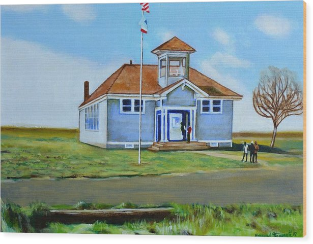 Buildings; School; Landscape; African American Community; Historical State Park; Wood Print featuring the painting Allensworth School by Howard Stroman