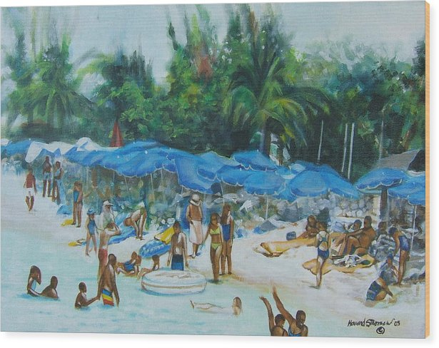 At The Beach Wood Print featuring the painting Intimacy on Vacation by Howard Stroman