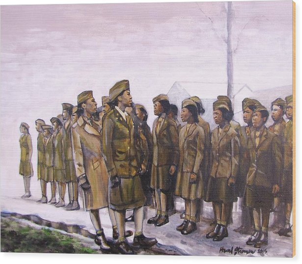 Military; Women Military; Soldiers; Ww2; Army; Women Soldiers; Wood Print featuring the painting Attention by Howard Stroman