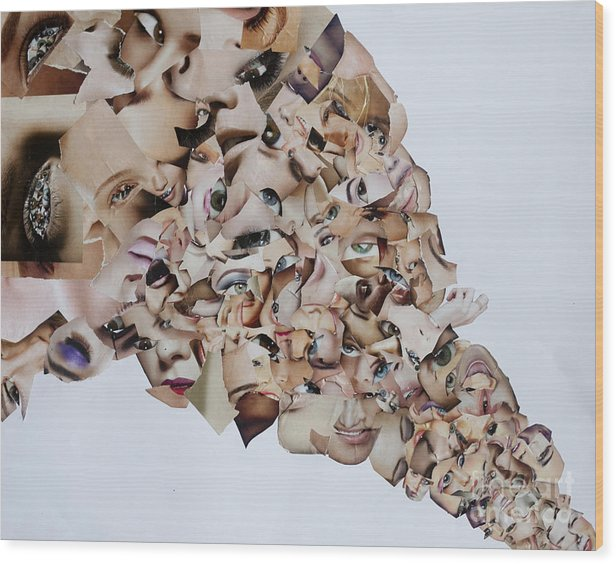 Collage Wood Print featuring the mixed media Crisis Line by Arvo Zylo