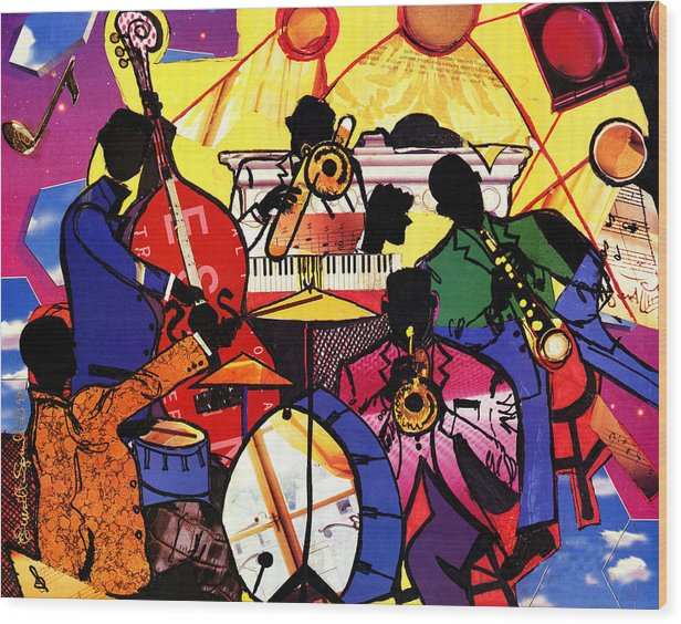 Everett Spruill Wood Print featuring the painting Old School Jazz by Everett Spruill
