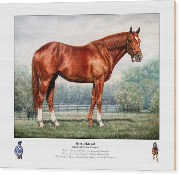 Secretariat Wood Print featuring the painting Secretariat Triple Crown Champion by Thomas Allen Pauly