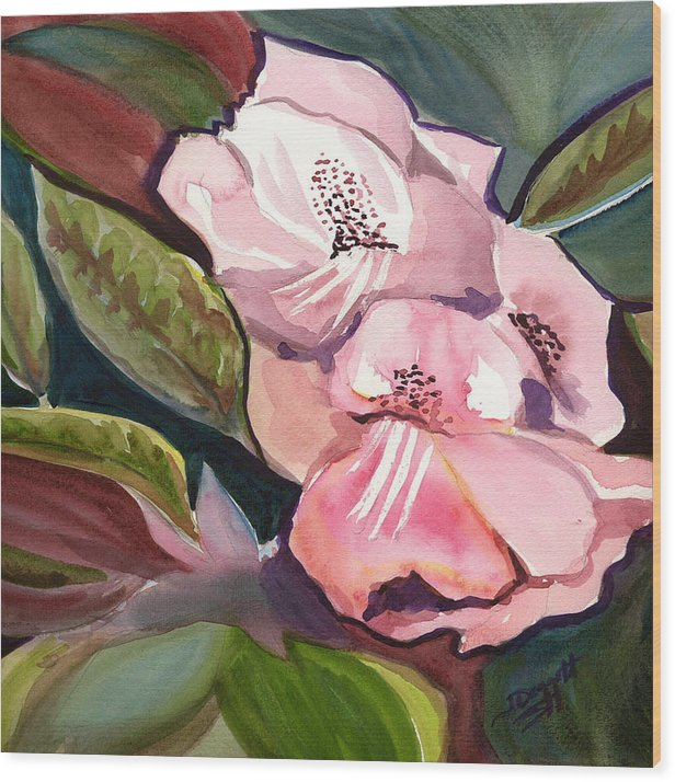 Floral Wood Print featuring the painting Jungle floral by Janet Doggett