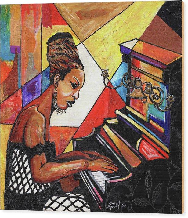 Everett Spruill Wood Print featuring the mixed media Nina Simone by Everett Spruill