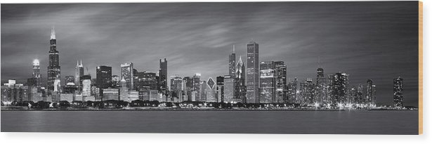 3scape Wood Print featuring the photograph Chicago Skyline at Night Black and White Panoramic by Adam Romanowicz