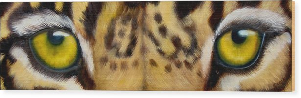 Leopard Eyes Wood Print featuring the painting Whos Watching Who Jaguar by Darlene Green