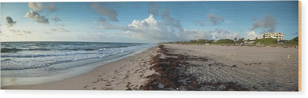 Scenics Wood Print featuring the photograph Florida Beach With Gentle Waves And by Drnadig