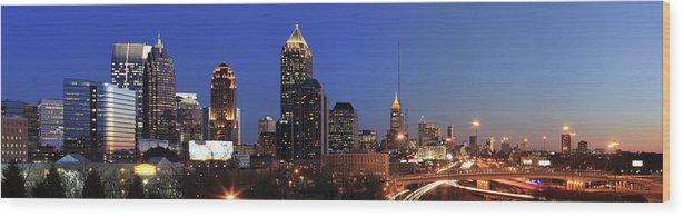 Atlanta Wood Print featuring the photograph Panorama Of Atlanta, Georgia by Jumper
