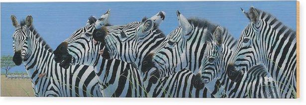 Zebra Wood Print featuring the painting Serengeti Serenade by Durwood Coffey