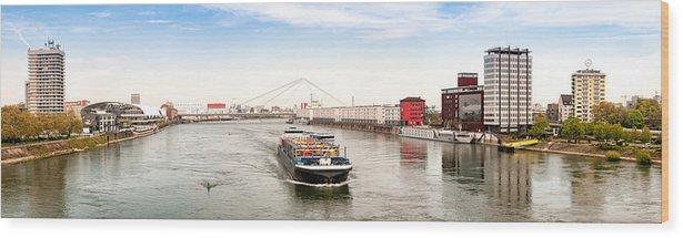 Panoramic Wood Print featuring the photograph Rhine (Rhein) - Ludwigshafen - Mannheim by Achim Lammerts