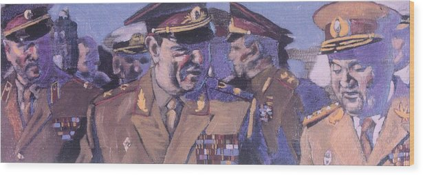 Russian Wood Print featuring the painting The Russian Generals by Michael Facey