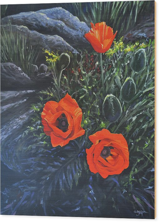 Poppy Wood Print featuring the painting Flame of the West by Hunter Jay