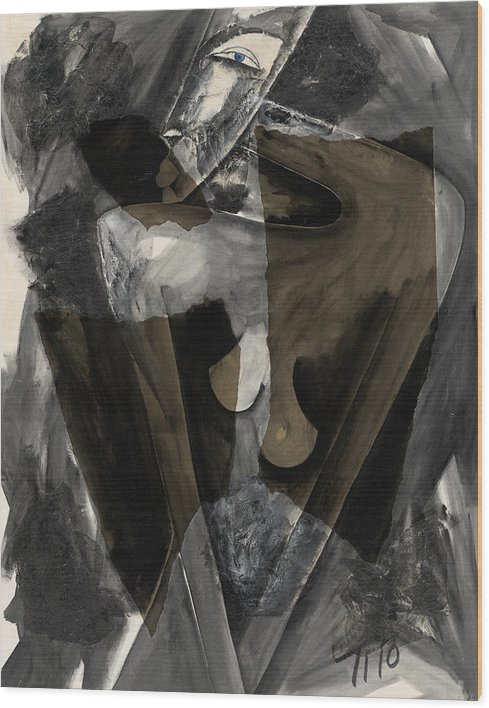 Abstract Wood Print featuring the painting Three by Tito