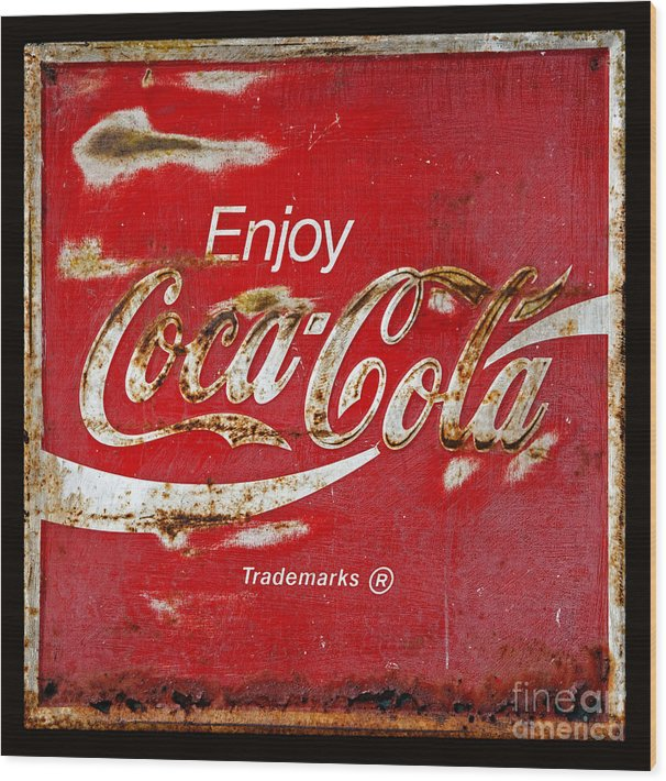 Coca Cola Vintage Rusty Sign Black Border by John Stephens