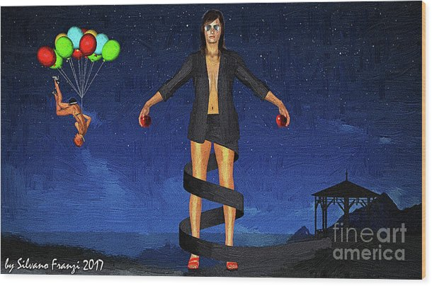 Surrealism Wood Print featuring the digital art Balloons And Surrealism by Silvano Franzi