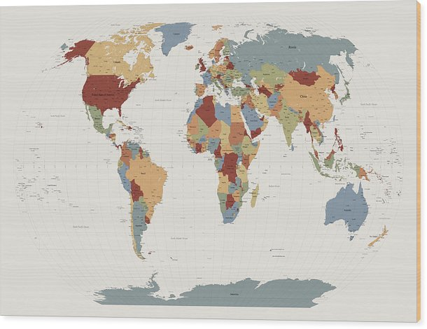 Map Of The World Wood Print featuring the digital art World Map Muted Colors by Michael Tompsett