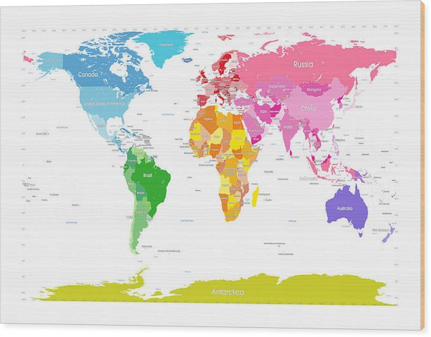 Continents world map large text for kids wood print by michael tompsett world map wood print featuring the digital art continents world map large text for kids by gumiabroncs Image collections