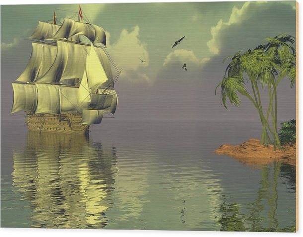 Bryce 3d Fantasy tall Ships Windjammer Sea Wood Print featuring the digital art Rain Squall On The Horizon by Claude McCoy