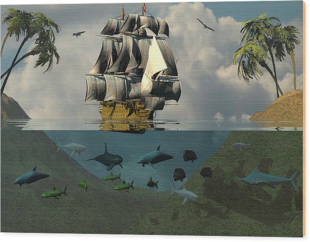 Bryce Wood Print featuring the digital art South Sea Adventure by Claude McCoy