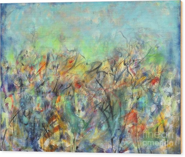 Floral Wood Print featuring the painting Valley Memoires by Gail Butters Cohen