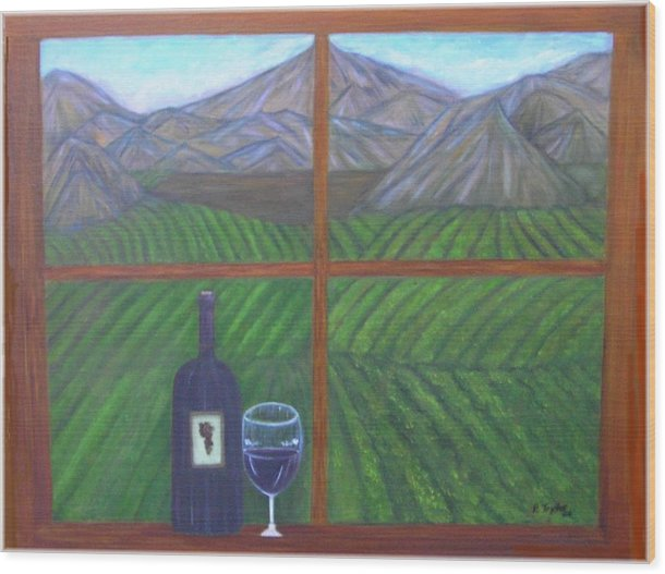 Vinyard Wood Print featuring the painting Valley View by Paula Taylor