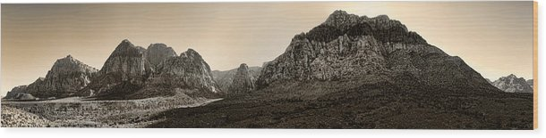 Red Wood Print featuring the photograph Red Rock Panorama - Anselized by Ricky Barnard