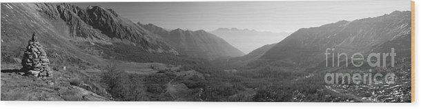 Black & White Wood Print featuring the photograph The Valley And The Rocks by Marco Affini