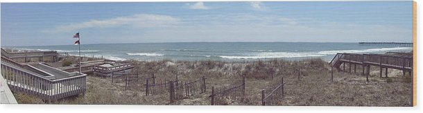 Topsail Beach Wood Print featuring the photograph Topsail Beach Panorama 2 by Robert Scarborough