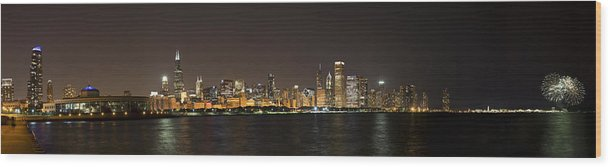 3scape Photos Wood Print featuring the photograph Beautiful Chicago Skyline With Fireworks by Adam Romanowicz