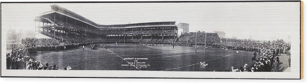 University Of Pittsburgh Wood Print featuring the photograph University Of Pittsburgh Vs W And J College Forbes Field Pittsburgh Pa 1915 by Bill Cannon