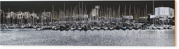 Panorama Wood Print featuring the photograph Port Vell Barcelona by Bogdan Ivan
