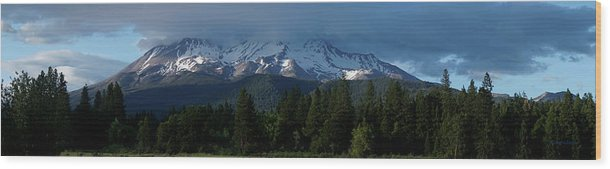 Panorama Wood Print featuring the photograph Mt Shasta Under Clouds - Panorama by Mick Anderson