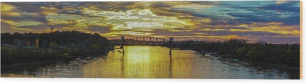 Bridge Wood Print featuring the photograph Panaroma Katy Bridge by Janice Poole