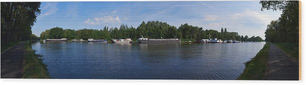 Lehto Wood Print featuring the photograph By A Canal Panorama by Jouko Lehto