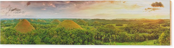 Panorama Wood Print featuring the photograph Chocolate Hills by MotHaiBaPhoto Prints