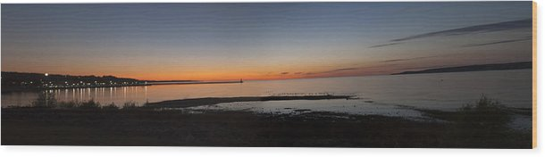 Sunset Panorama Taken In Petosky Wood Print featuring the photograph Sunset On Lake Michigan by Jim Culler