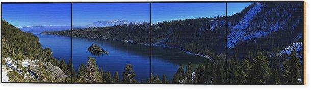 Emerald Bay Wood Print featuring the photograph Emerald Bay Panorama Lake Tahoe by Brad Scott
