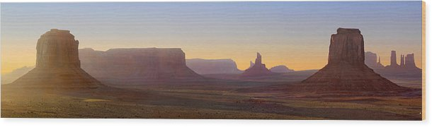 Monument Valley Wood Print featuring the photograph Monument Valley Sunset 3 by Mike McGlothlen