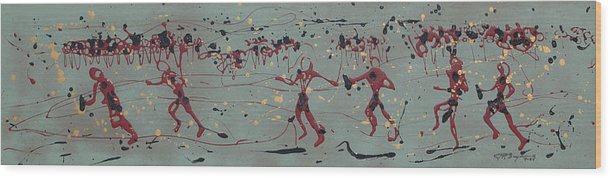 Runners Wood Print featuring the painting The Relay Race by J R Seymour