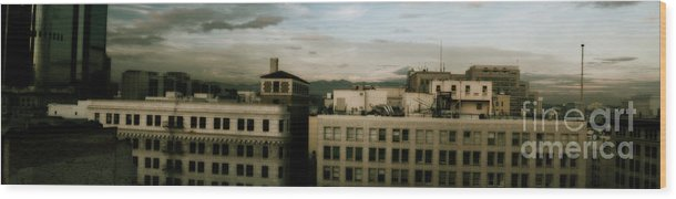 Urban Wood Print featuring the photograph Urban Night by Michael Herb