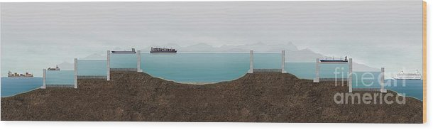 Artwork Wood Print featuring the photograph Panama Canal Cross-section, Artwork by Claus Lunau