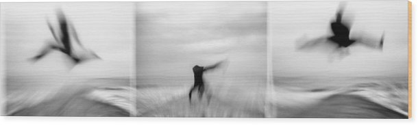 Dance Wood Print featuring the photograph Dancer In The See by Ahmed Bahhodh