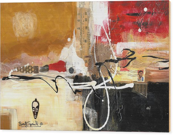 Everett Spruill Wood Print featuring the painting Cultural Abstractions - Hattie McDaniels by Everett Spruill