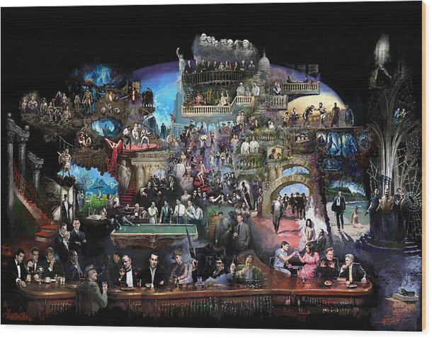 Icones Of History And Entertainment Wood Print featuring the mixed media Icons Of History And Entertainment by Ylli Haruni