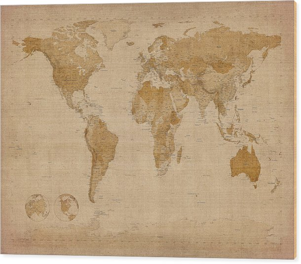 World Map Wood Print featuring the digital art World Map Antique Style by Michael Tompsett