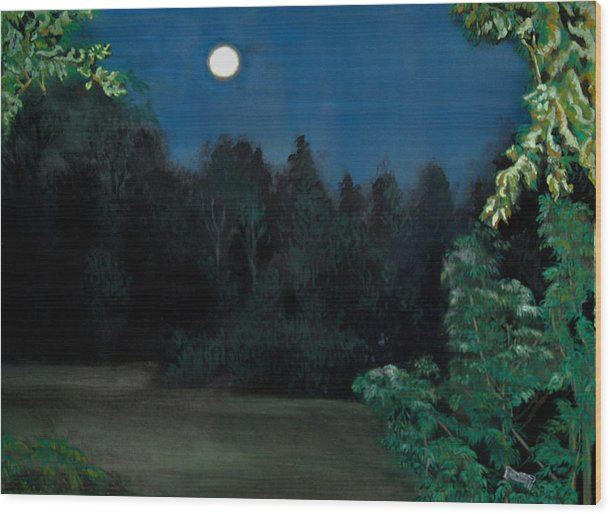 Moon Wood Print featuring the painting Moon Shadow by Susan Moore