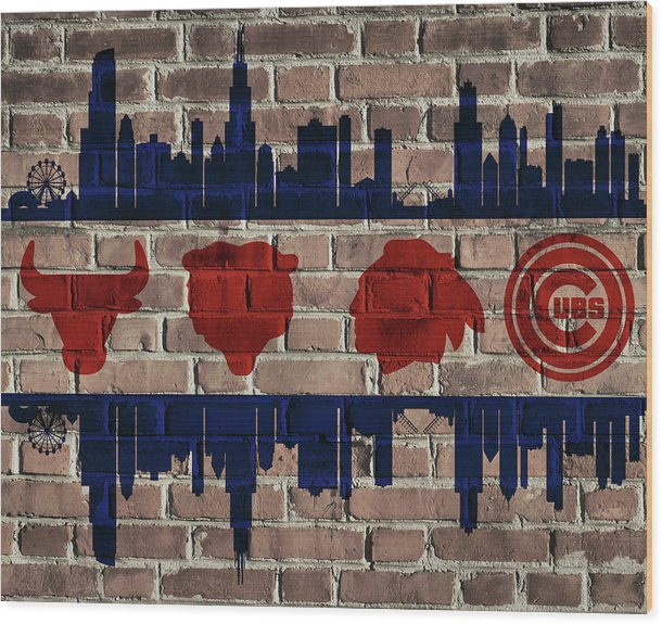 Chicago Sports Team Flag On Brick by Dan Sproul