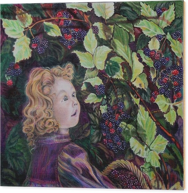 Blackberry Wood Print featuring the drawing Blackberry Elf by Susan Moore