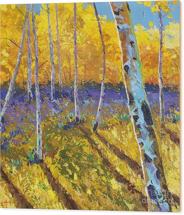 Aspen Wood Print featuring the painting All In The Golden Afternoon by Hunter Jay